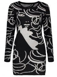 Long Sleeve Graphic Knit Mini Fitted Dress