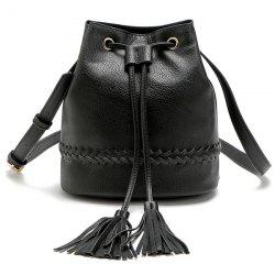 Drawstring Tassel Bucket Bag - BLACK