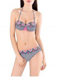 String Striped Bikini Set with Tassel