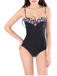 String Print Cut Out One Piece Swimwear