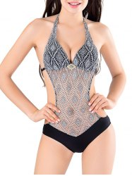 Halter Crochet Low Cut See Through Swimwear