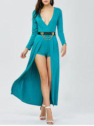 Plunging Neck Belted Overlay Flowy Romper