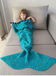 Pom Ball Embellished Crochet Knit Mermaid Blanket Throw For Kids -