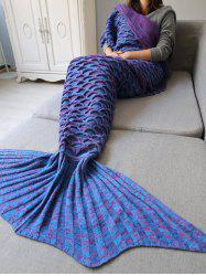 Fish Scale Shape Knitted Mermaid Blanket Throw - BLUE + PURPLE