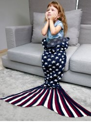 Stars and Stripes Knit Mermaid Blanket Throw For Kids