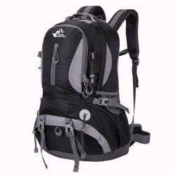 Nylon Waterproof 40L Mountaineering Backpack - BLACK