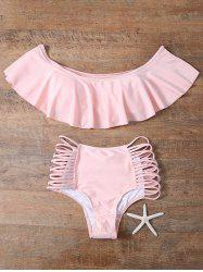 Flounced Off The Shoulder Cutout Bikini Set - PINK L