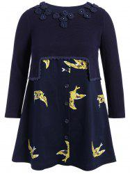 Bird Print Applique Plus Size Tunic Top