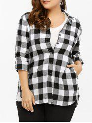 Plus Size Gingham Plaid Dip Hem Boyfriend Shirt