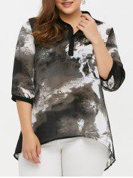 Plus Size Ink Painting Dip Hem Blouse