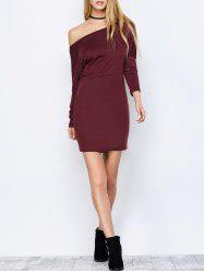 Skew Neck Long Sleeve Mini Dress