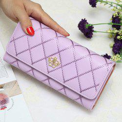 Crown Quilted Checkbook Wallet - LIGHT PURPLE