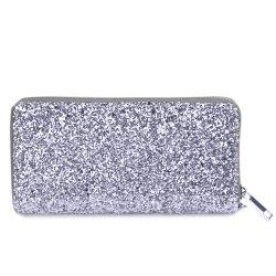 Sequined Glitter Clutch Zip Around Wallet