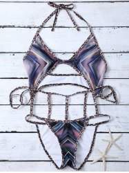 Caged Chevron Print Leopard String Monokini Swimsuit