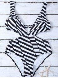 Striped One Piece Cutout Bathing Suit