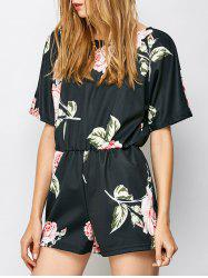 Floral Out Cut Romper - Noir L