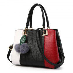 Pom Poms Color Block Handbag
