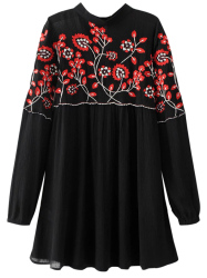 Floral Embroidered Stand Neck Dress - BLACK M