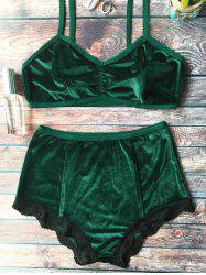 High Waisted Lace Hem Velvet Bra Suit - BLACKISH GREEN