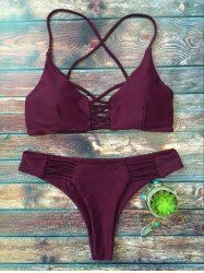 Cami Lace-Up Strappy Cutout Bikini Set - PURPLE
