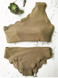 One Shoulder Scalloped Bikini Set - GREY OLIVE L