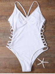 Cami High Cut Cutout One-Piece Swimwear - WHITE