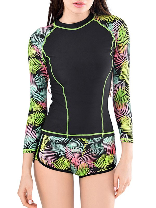 73fc4a0e5d 10% OFF] Leaves Print Long Sleeve Swim Top And Shorts | Rosegal
