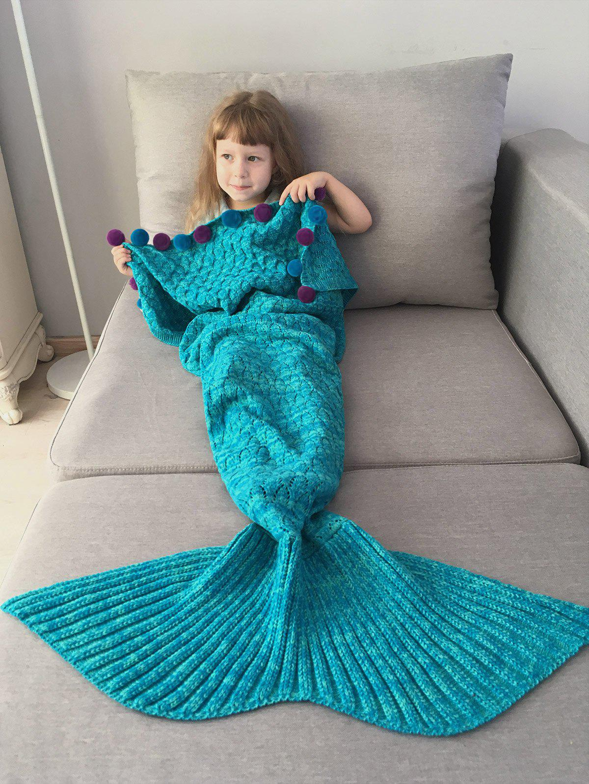 Chic Pom Ball Embellished Crochet Knit Mermaid Blanket Throw For Kids