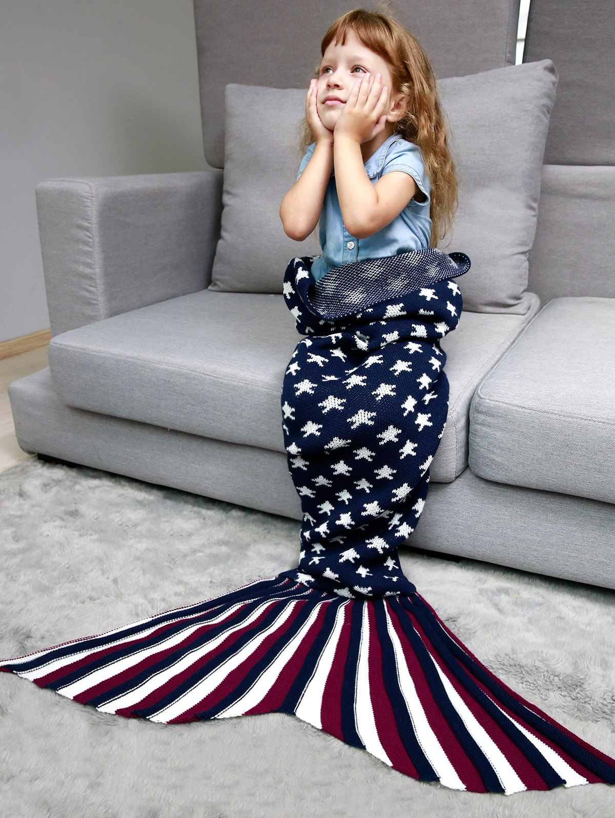 Best Stars and Stripes Knit Mermaid Blanket Throw For Kids