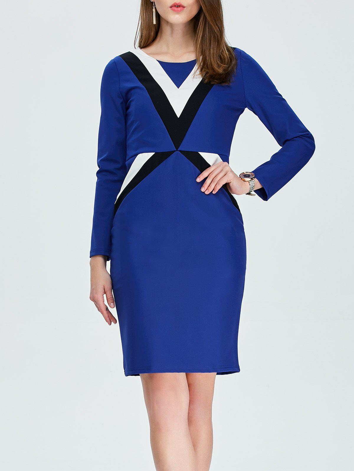Buy Color Block Long Sleeve Pencil Work Dress