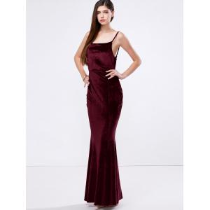 Velvet Mermaid Slip Bandage Formal Dress -