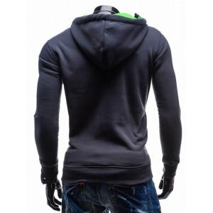 Side Zip Up Contrast Color Pullover Hoodie -