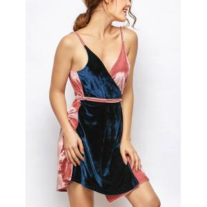 Sleeveless Two Tone Velvet Cami Wrap Dress - Blue And Pink - One Size