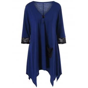 Plus Size Lace Insert Asymmetric V Neck T-Shirt