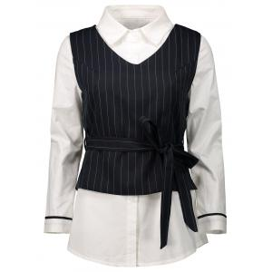 Striped Belted Waistcoat with Blouse - White - S