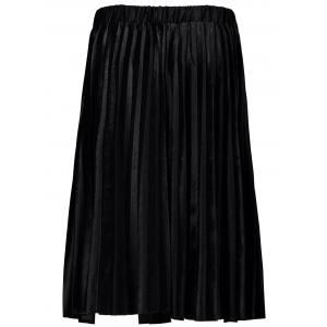 Pleated Velvet A-Line Skirt