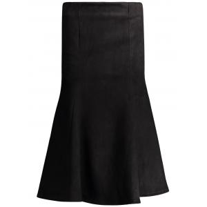 High Waisted Fake Suede Midi Fishtail Skirt - Black - M