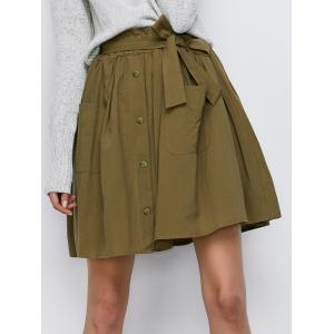 Button Up Belted Mini Skirt With Pockets