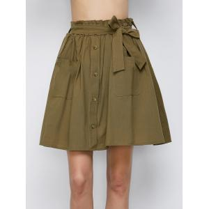 Button Up Belted Mini Skirt With Pockets -