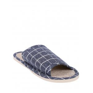 Checked Color Block House Slippers - Deep Blue - Size(41-42)