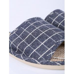 Checked Color Block House Slippers - DEEP BLUE SIZE(43-44)