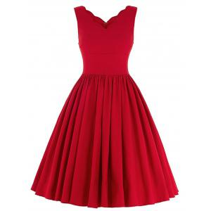Scalloped A Line Cocktail Dress - Red - S