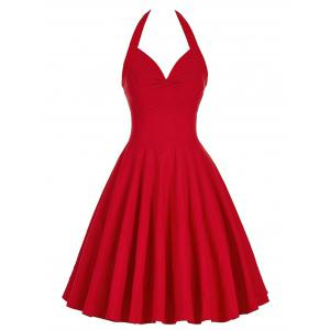 Lace-Up Halter Vintage Corset Club Dress - Red - S