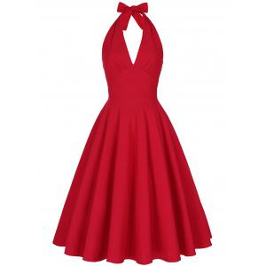 Halter Low Back Plunge Work Christmas Party Dress - Red - 2xl