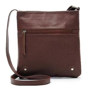 Faux Leather Sling Bag - Coffee