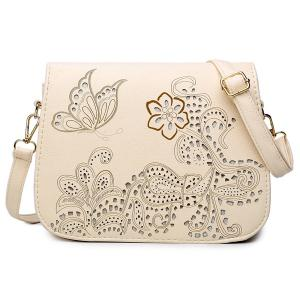 Floral Hollow Out Crossbody Bag - Off-white