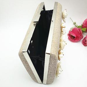 Beaded Clutch Evening Bag - CHAMPAGNE