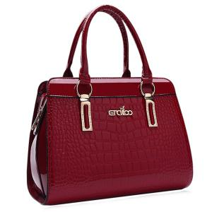 Embossed Faux Leather Tote Bag - Wine Red - 41