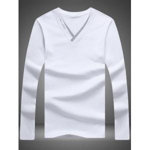 V Neck Long Sleeve Texture T-Shirt