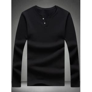 Buttoned Notched Neck Plain T-Shirt - Black - 5xl